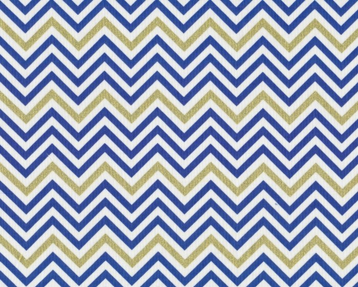 Patchworkstoff REMIX, schmale Chevron-Zacken, blau-gold