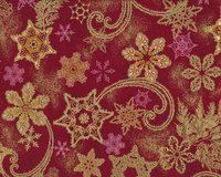 Metallic-Patchworkstoff HOLIDAY FLOURISH, Eiskristall-Zauber, weinrot-gold...