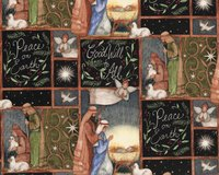 Patchworkstoff HOLY NIGHT, Weihnachts-Krippe,...
