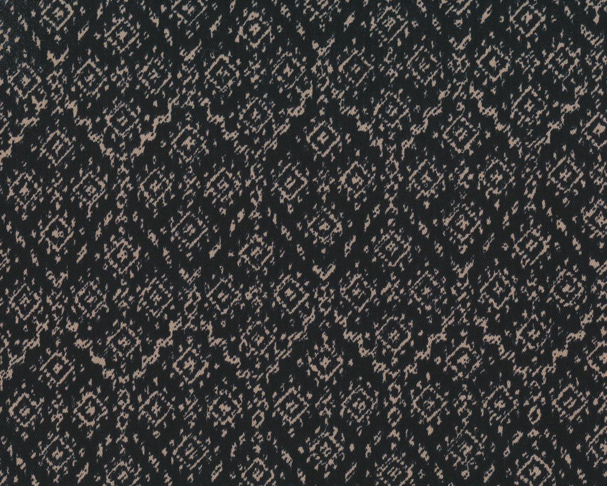 Fester Baumwoll-Stretch YUCATAN, Ikat-Rauten-Muster, dunkelbraun-beige