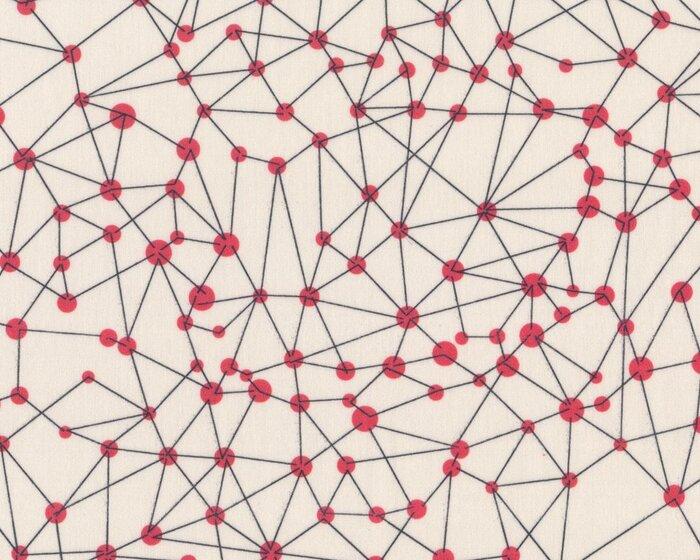 Feiner Baumwollbatist TRICIA, Punkte-Netz, creme-rot