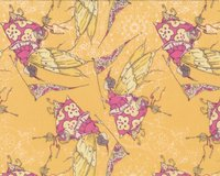 Patchworkstoff FEATHER FLOCK, Schmetterlingsfeen, helles goldbraun-pink