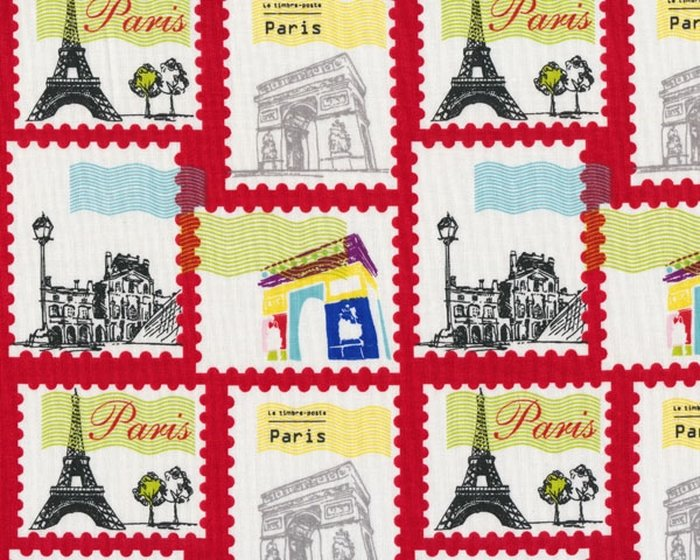 Patchworkstoff PEPE IN PARIS, Briefmarken, rot-weiß