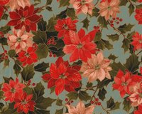 Metallic-Patchworkstoff HOLLY NIGHT METALLIC, Weihnachtsstern und Ilex,...