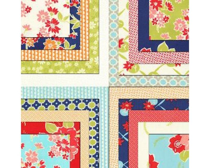 Patchworkstoff MISS KATE, Blumen-Bouquets, blau-orange