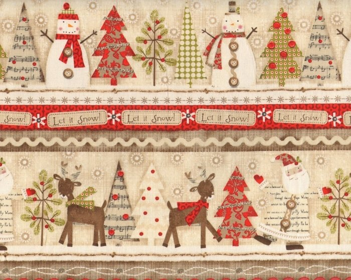 30-cm-Rapport Patchworkstoff HOLIDAY STITCHES, Let it Snow, hellbraun-rot