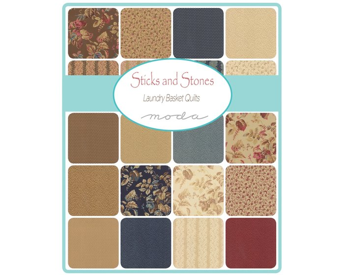 Precuts Charm Pack STICKS AND STONES, 12,5 x 12,5 cm, 42 Quadrate