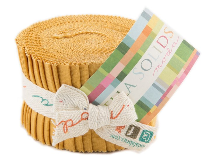 Precuts Junior Jelly Roll BELLA SOLIDS, 6 x 110 cm, 20 Streifen, helles goldbraun