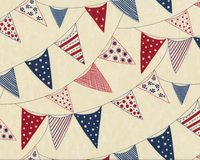 Patchworkstoff RED, WHITE, FREE, Wimpelkette, dunkelblau-dunkelrot