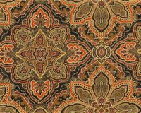 Patchworkstoff THE NEW RENAISSANCE MAN, Ornamentblüten, orange-gold metallic