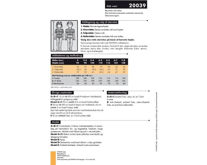 Ballontunika, Kleid, Pumphose und Tuch, Schnittmuster ONION 20039