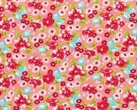 Patchworkstoff LITTLE RUBY, Blumenbouquets, lachsrosa-rot