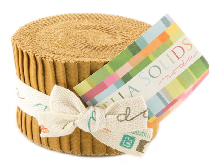 Precuts Junior Jelly Roll BELLA SOLIDS, 6 x 110 cm, 20 Streifen, hellbraun