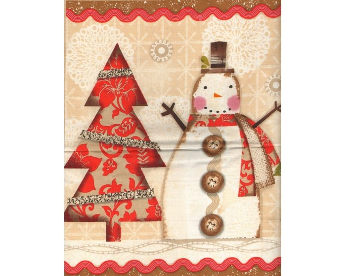 60-cm-Rapport Patchworkstoff HOLIDAY STITCHES, Weihnachts-Panel, hellbraun-rot