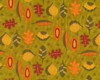 Patchworkstoff HELLO FALL, Comic-Herbstblätter, dunkles limette-orange