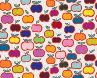 Patchworkstoff KITTY KAT APPLE STACK, Äpfel, orange-blau