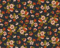 Patchworkstoff NOMAD, Wildrosen, anthrazit-terracotta
