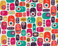Patchworkstoff BEYOND THE BACKYARD, Blumen-Icons, fuchsia-dunkles orange