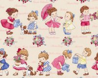 Patchworkstoff OLD NEW KIDS, Retro-Kinder, hellbeige-rosa