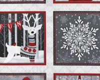 60-cm-Rapport Patchworkstoff HOLIDAY MAGIC, Weihnachtsbilder,...