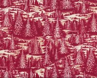 Patchworkstoff CHRISTMAS IN THE WOODS mit Tannenwald, weinrot-hellbeige