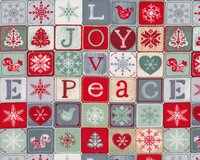 Patchworkstoff JOY, LOVE, PEACE, Winter-Mosaik, mintgrün-rot