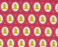 Patchworkstoff TREELICIOUS, Tannenbaum-Medaillons, pastellrot