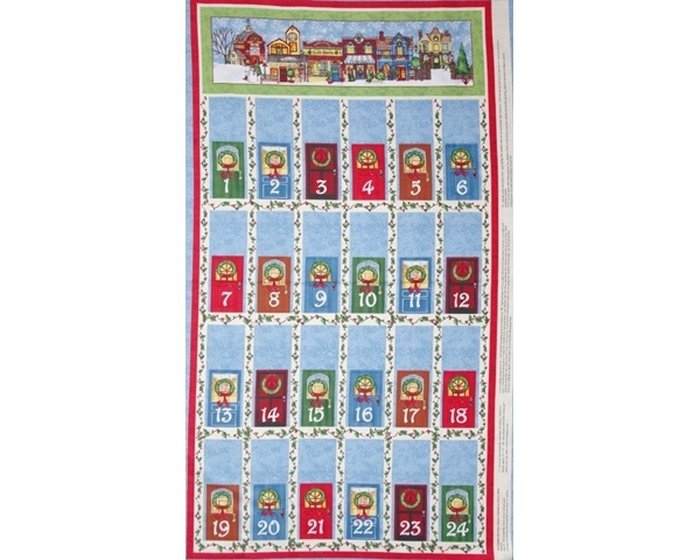 60-cm-Rapport Patchworkstoff All around the Town, Paneel mit Adventskalender, helles taubenblau-rot-grün