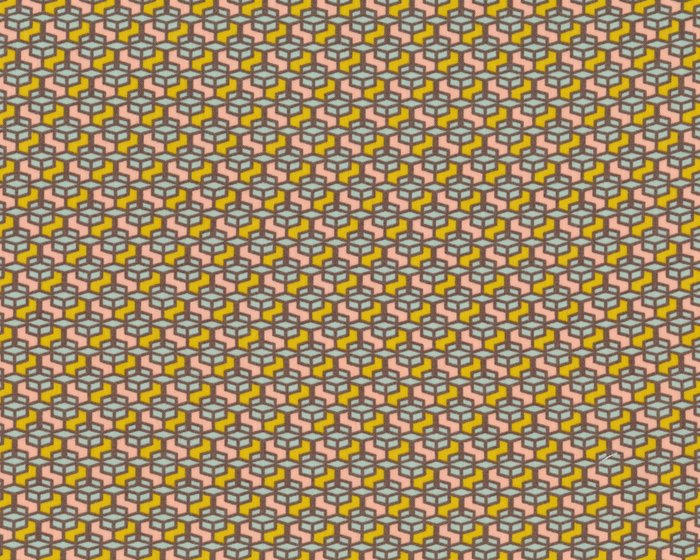 Feiner Baumwollstoff COLORED WINDOW, Kaleidoskop-Muster, senfgelb ...