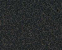 Metallic-Patchworkstoff HOLLY NIGHT METALLIC, Ornamentranken, schwarz-gold