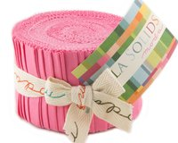 Precuts Junior Jelly Roll BELLA SOLIDS, 6 x 110 cm, 20 Streifen, dunkles rosa