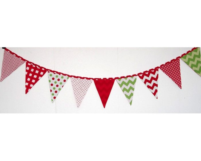 60-cm-Rapport Patchworkstoff HOLIDAY BANNERS, Wimpelkette, dunkelblau