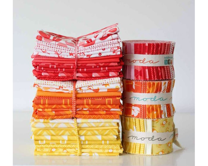 Patchworkstoff SIMPLY COLORFUL, Rechtecke, dunkles orange