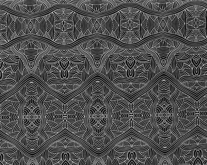 australischer patchworkstoff nambooka wellen ornamente schwarz wei. Black Bedroom Furniture Sets. Home Design Ideas