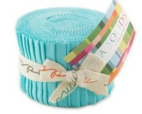Precuts Junior Jelly Roll BELLA SOLIDS, 6 x 110 cm, 20 Streifen, helles türkis