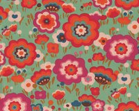 Patchworkstoff FLYING COLORS, Retro-Blumen, gedecktes mintgrün-fuchsia
