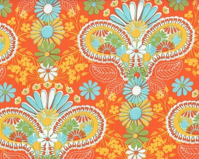 Patchworkstoff LOVELORN, Paisley-Blüten, orange-maisgelb