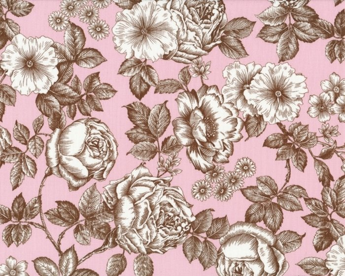 Patchworkstoff NEW TRADITIONS, Rosen, braun-rosa