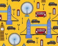 Patchworkstoff Next Stop London mit Big Ben und Tower Bridge,...
