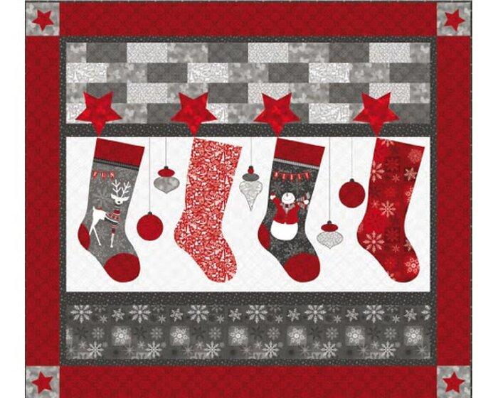 60-cm-Rapport Patchworkstoff HOLIDAY MAGIC, Weihnachtsstrümpfe ...