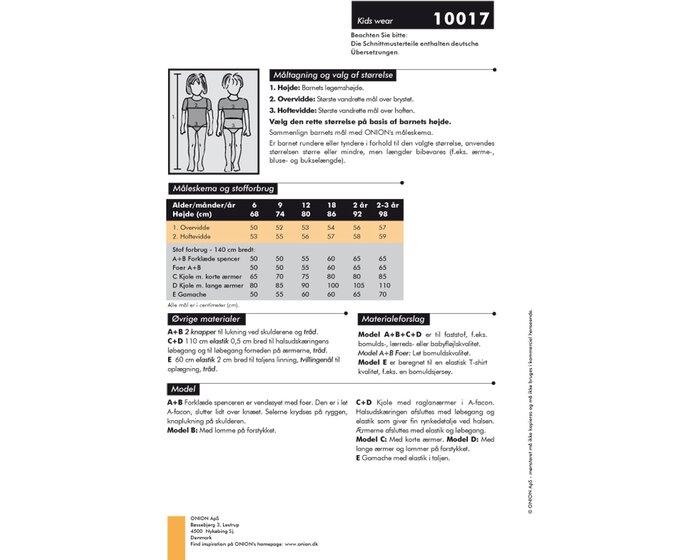 Kleiderweste, Kleid und Leggings, Schnittmuster ONION 10017