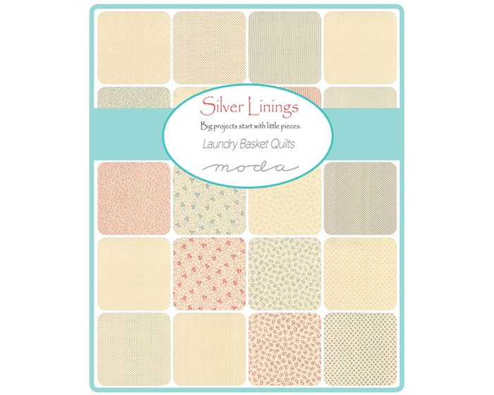 Patchworkstoff SILVER LININGS, Karomuster, creme-anthrazit