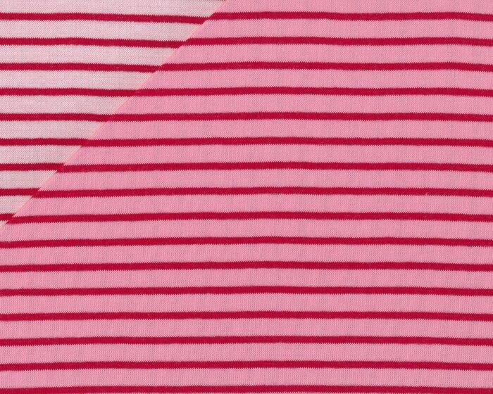 Herzenliebe Doubleface Biostoff Jacquard-Jersey Streifen Herzen Rot Weiß