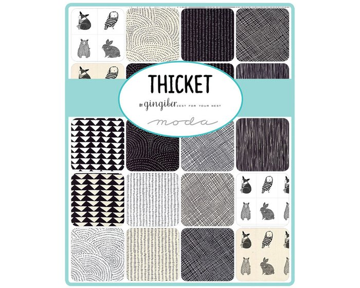 90-cm-Rapport Patchworkstoff THICKET, Tier-Illustrationen, weiß-schwarz