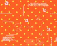 Patchworkstoff HEY DOT, Polka Dots und Skizzen, orange-gelb