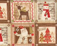 30-cm-Rapport Patchworkstoff HOLIDAY STITCHES, Let it Snow-Rahmen, hellbraun-rot