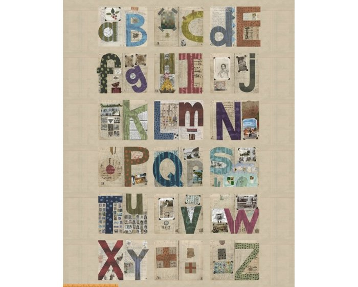 1,40-m-Panel Patchworkstoff ALPHABET, Buchstaben-Collage, natur-beige
