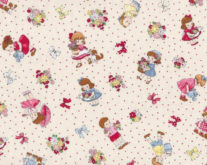 Patchworkstoff OLD NEW KIDS, Garten-Kinder, hellbeige-rosa