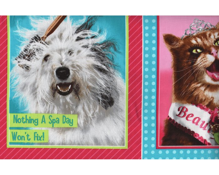 60-cm-Rapport Patchworkstoff DIVAS AND TOUGH GUYS, Tiere mit Lockenwicklern, pink-türkis