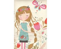 60-cm-Panel Patchworkstoff BEAUTIFUL GARDEN GIRL, träumendes Blumenmädchen,...